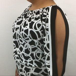 Cache Split Sleeve Dress Size XS Black White